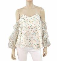 6a7a6eaf123 CAROLINE CONSTAS Gabriella Sweetheart Off The Shoulder Silk Top Blouse M
