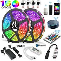 5M-20M 5050 3528 RGB SMD LED Strip Light+Bluetooth WiFi Remote 12V Power Supply