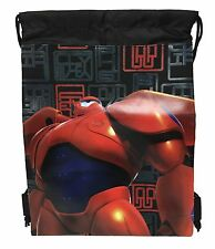 2X Black Disney Big Hero 6 Baymax Hiro Wassabi Boy Drawstring Sport Gym Tote Bag