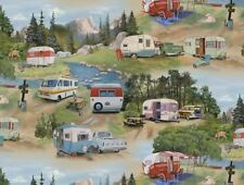 Retro - Vintage Caravans -Cars- Caravan Camping - Fabric -per 1/2 Yd
