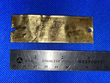 BIRTMAN ELECTRIC Co. Rock Island Name Tag Plate Hit Miss Engine Antique