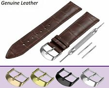 Fits BULOVA Dark Brown Genuine Leather Watch Strap Band For Buckle Clasp 18-24mm