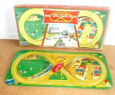 RARE Vintage tin toy METTOY Playthings (Gt Britain) ROAD RACE TRACK & CAR - 50s