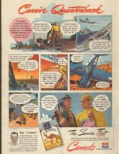 1945 WW2 tobacco Ad CAMEL ART Navy Hellcat lands on carrier Cigarettes 031516