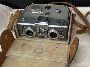 SIMDA PANORASCOPE French stéréo camera - Angénieux Lens - Original leather bag