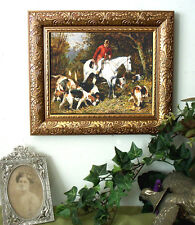 Emms Gone to Earth Fox Hunt Hound Dog Horse Print Antiqu Styl Framed 11X13
