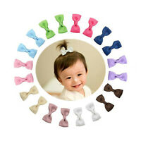 20pcs Tiny Boutique Grosgrain Ribbon Hair Bow Clips Hairpin for Baby Girls 2 in