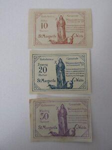 1920 Weissenkirchen (Austria) 10/20/50 Heller Notes Lot of 3