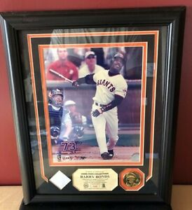"""Highland Mint Barry Bonds Game-Used Pants and Coin 13"""" x 16"""" Plaque HM COA"""