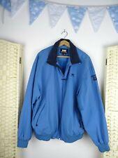HELLY HANSEN teal blue nylon mesh lined light weight sporty rain jacket   XL