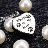 Always In My Heart Pet Cremation Urn Necklace Dog Ash Memorial Keepsake Jewelry