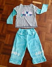 MONSOON EMBROIDERED BLUE TROUSERS GIRL AGE 6 - 12 MONTHS & GAP MATCHING TOP VGC!