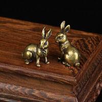 1 Pair Brass Rabbit Figurine Small Rabbit Statue Ornament House Animal Figurines