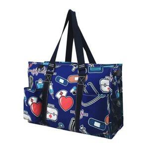 Zip Top Utility Tote Organizer w/pockets purse bag craft Nurse Medical Doctor
