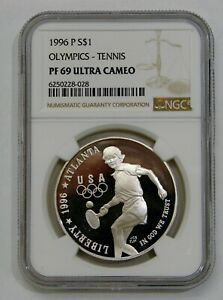 1996 P - Olympics Tennis Proof Commemorative Silver Dollar - NGC PF 69 Ultra Cam