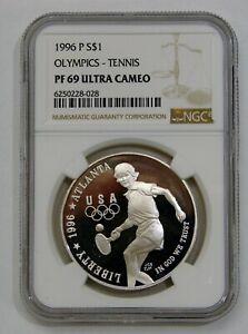 1996 P - Olympics Tennis Proof Commemorative Silver Dollar - NGC PF 69 Ultra Cam