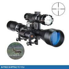 Pinty 3-9X40mm Reflex Cross Reticle Rifle Scope with Laser Sight & Torch Hunting
