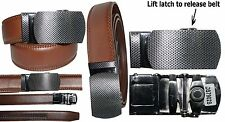 """Men's belt. Leather Dress Belt Quick Automatic Lock New Silver buckle up to 43"""""""