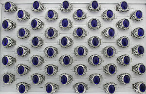 Newest Wholesale Lots 30pcs Blue Resin Old Age Alloy Fashion Men's Hotsell Rings