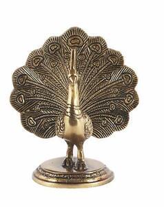 Brass Dancing Peacock Showpiece Statue Figurine Sculpture 5 inches