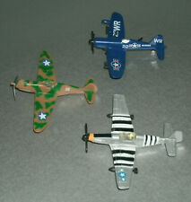 Three 1/125 Scale US Military Single Engine WW2 Airplane Diecast Toy Aircraft