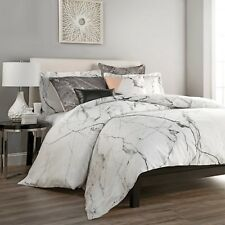 Carrara Twin Duvet Cover Set in White & Grey