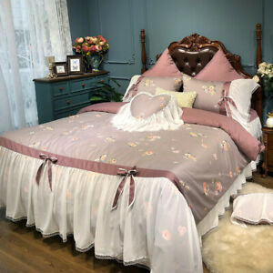 Egyptian Cotton Bedding Floral Blossom Lace Bow Ties Duvet Cover Bed Sheet Skirt
