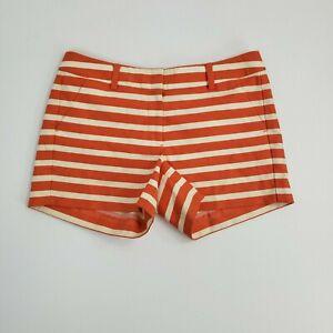 Ann Taylor Women's Petite Ladies Casual Orange Stripped Summer Mini Shorts 6P