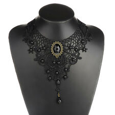 Black Lace& Beads Choker Victorian Steampunk Style Gothic Collar Necklace FL