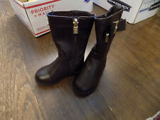 Michael Kors Emma Valley-t Brown Riding Boots Bow gold Sz 5 Toddler EUC Clean!