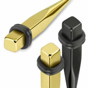 """Expander Stud """" Square Style """" Gold Black 3-8mm Remaining Stock"""