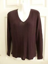 Joneswear (Jones New York) Purple Eggplant Pointelle V-neck Sweater Size Medium