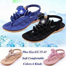 Women Casual Leather Sandals Rhinestones Flip Flops Flats Sandals Beach Shoes