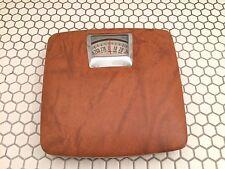 Vintage Mid Century Hanson Faux Caramel Leather Bathroom Scale 300 LBS Ireland