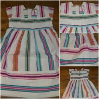 NEW JOULES GIRLS DRESS 100% COTTON STRIPED IVORY CREAM BLUE GREEN PINK 3 - 8