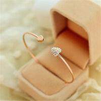 New Womens Fashion Gold Rhinestone Love Heart Bangle Cuff Bracelet Jewelry Gift