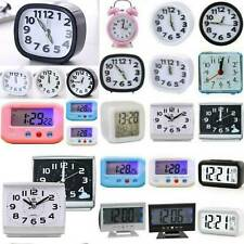 Alarm Clock Battery Operated LED Operate Loud Bell Night Light Bedside Desk New