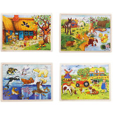 1X Wooden Puzzle Jigsaw Cartoon Baby Kids Educational Learning Tool Set Toy TBUS