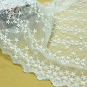 """51""""Wide Off white Floral Embroidery Lace Fabric for DIY Wedding Gown By the Yard"""