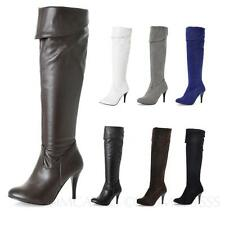 Leather Shoes Thigh length Womens High Heel Boots Ladies Party plus size 5 -16