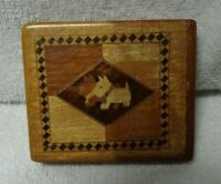 Scotty Scottie Dog Wooden  Flat Inlay Box  3 3/4 Inches Across  As Seen