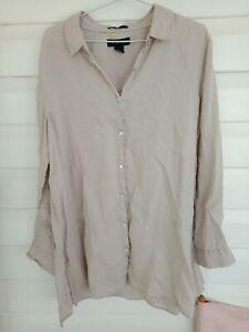 Woman's Tahari Pure Linen Shirt L Long Sleeve Beige