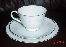 Noritake ARMAND Trio Cup Saucer And Side Plate Silver Gilt Grey And White