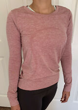 Lululemon Size 8 Swiftly Relaxed LS Red CHRT/WHT Top Run Long Sleeve Mesh Crew