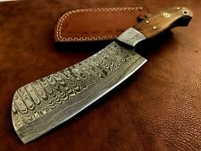 More details for handmade damascus steel hatchet / axe-leather sheath-functional-camping-dh12