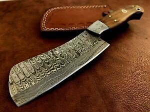 Handmade Damascus Steel Hatchet / Axe-Leather Sheath-Functional-Camping-dh12