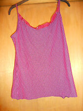 Pink + black stripe vest cami top with silk trim 10 12 hippy boho gypsy summer