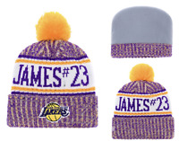 Los Angeles Lakers NBA Basketball Beanie Cap Knit Pom Hat Fleece lined