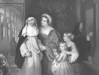 MOM & KIDS VISIT TWIN SISTER NUN AT CONVENT ~ Antique 1856 Art Print Engraving