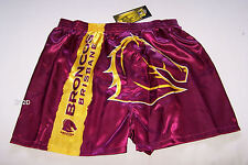 Brisbane Broncos NRL Mens Maroon Satin Boxer Shorts Size M New
